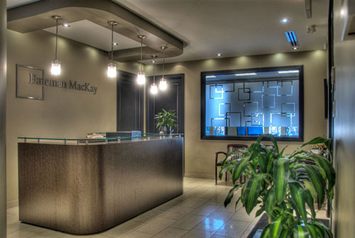 Reception area of Bateman MacKay Mississauga, ON office