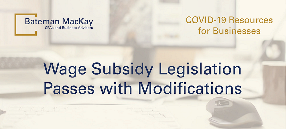 Wage Subsidy Legislation Passes with Modifications